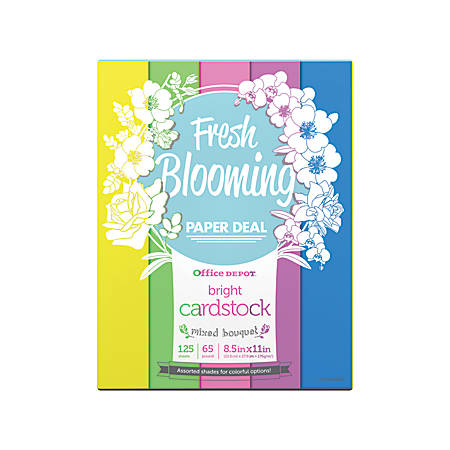 Office Depot® Brand Bright Card Stock, Letter Paper Size, 65 Lb, Mixed Bouquet, Pack Of 125 Sheets