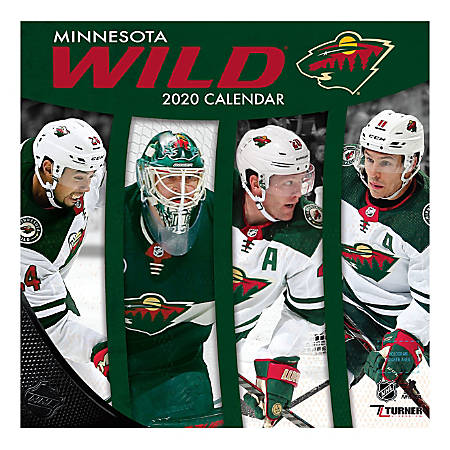 "Turner Licensing Monthly Wall Calendar, 12"" x 12"", Minnesota Wild, 2020"