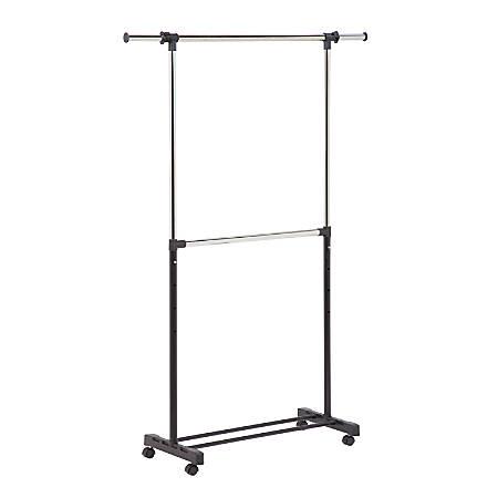 "Honey-Can-Do Double-Bar Garment Rack, 73""H x 17""W x 60""D, Chrome/Black"