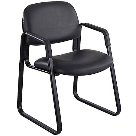 "Safco® Cava® Sled Base Vinyl Guest Chair, 32 1/2""H x 22 1/2""W x 24""D, Black Frame, Black Fabric"