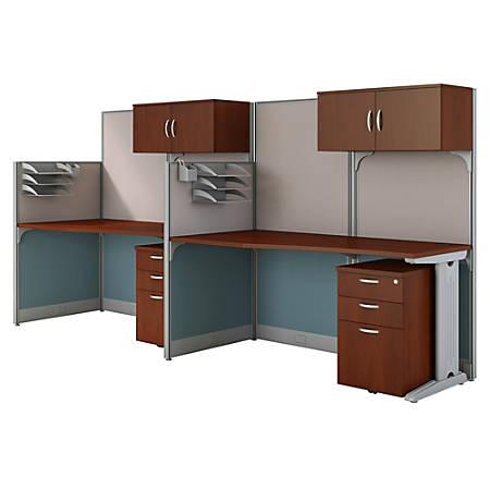 Bush Business Furniture Office in an Hour 2 Person Cubicle Workstations, Hansen Cherry, Premium Installation