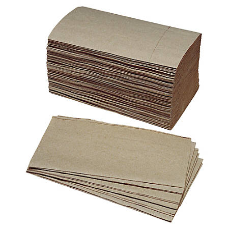 """SKILCRAFT® Single Fold 1-Ply Paper Towels, 5 3/8"""" x 9 1/4"""", 90% Recycled, Kraft, 250 Sheets Per Roll, Case Of 16 Rolls (AbilityOne 8540-01-359-0798)"""