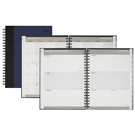 """Office Depot® Brand Stripe Weekly/Monthly Planner, Wide, 8 1/2"""" x 11"""", Black/Blue, January to December 2019"""