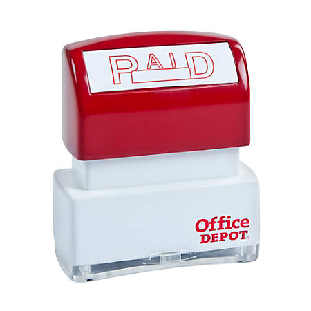 "Office Depot® Brand Pre-Inked Message Stamp, ""Paid"", Red"