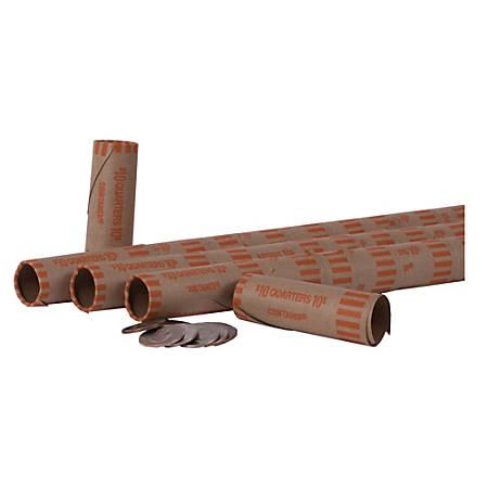 PAP-R Tubular Coin Wrap - Durable, Burst Resistant, Crimped, Pre-formed - 57 lb Paper Weight - Paper - Orange
