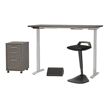 "Bush Business Furniture Move 60 Series 60""W x 30""D Adjustable Standing Desk with Lean Stool Storage and Ergonomic Accessories, Cocoa, Standard Delivery"