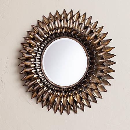 "Southern Enterprises Leandro Round Wall Mirror, 24 1/2"" x 24 1/2"", Silver"