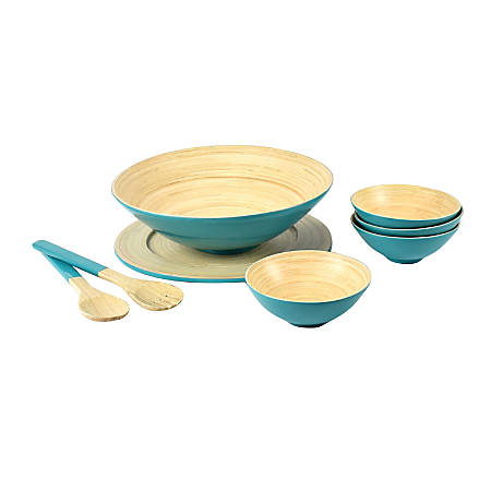 Orbit 8-Piece Bamboo Bowl Set, Natural/Teal