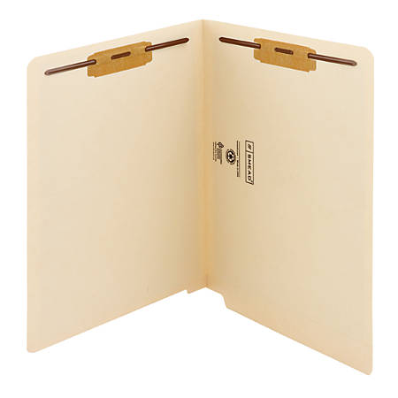 """Smead® End-Tab File Folders With Antimicrobial Product Protection, Reinforced Tab, 2 Fasteners, Straight Cut, 9 1/2"""" x 12 1/4"""", Pack Of 50"""