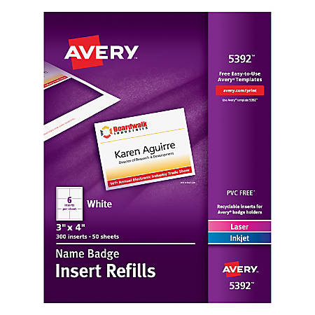 Avery Laser Name Badge Inserts X Box Of By Office Depot - 3x4 name tag template