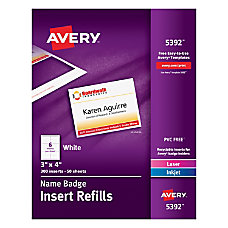 Avery Laser Name Badge Inserts 3