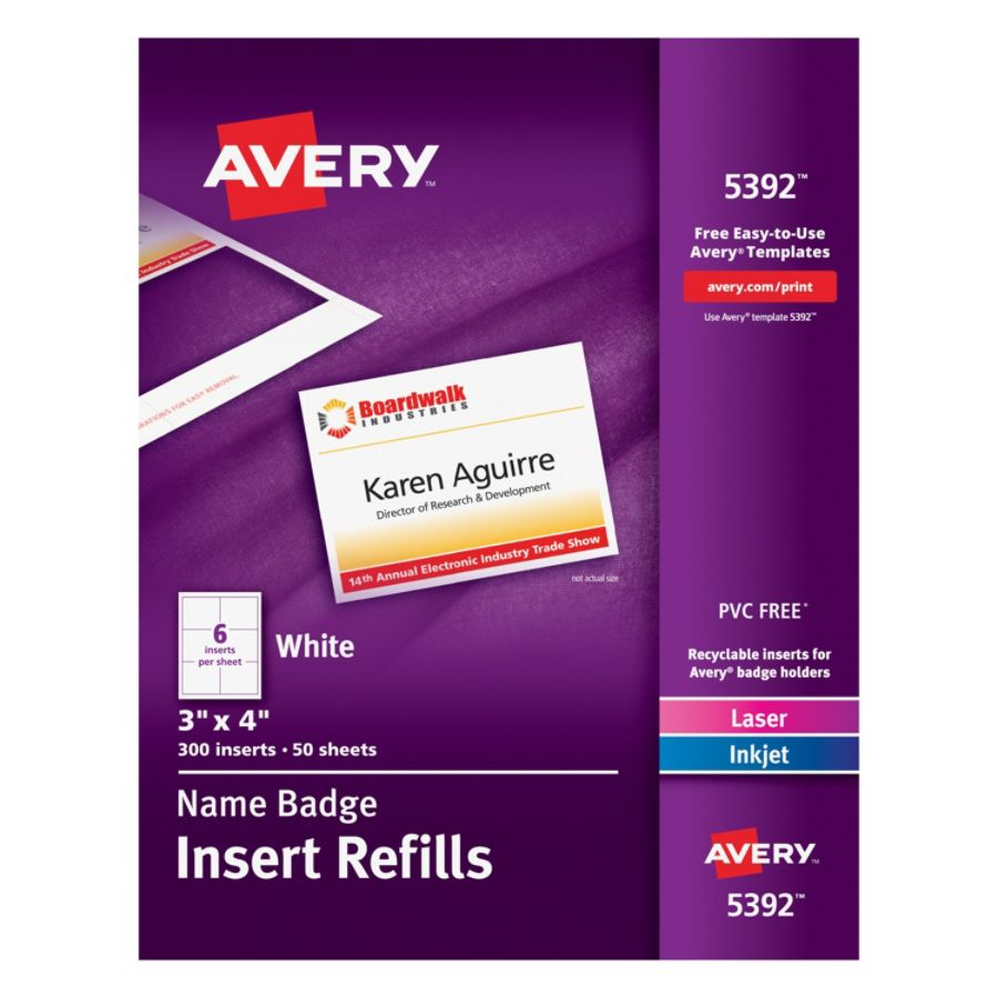avery laser name badge inserts 3 x 4 box of 300 by office depot rh officedepot com 5384 Avery Labels Avery 5384 Inserts
