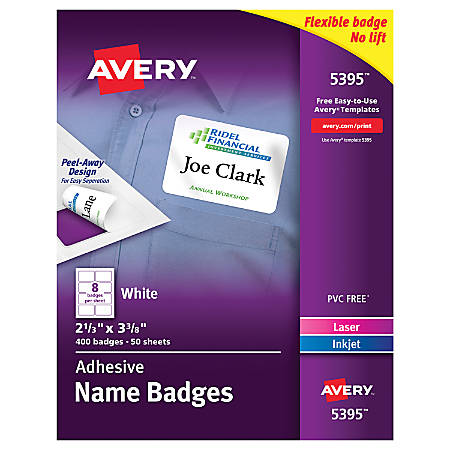 avery id badge template - avery flexible name badge labels 2 13 x 3 38 white box of