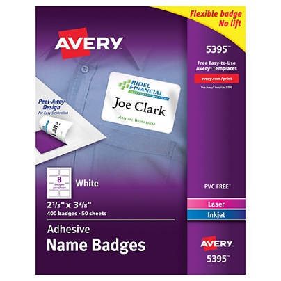 avery flexible name badge labels 2 13 x 3 38 white box of 400 by