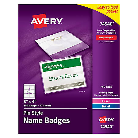 "Avery® Pin Style Name Badge Kits, Top Loading, 3"" x 4"", Box Of 100"