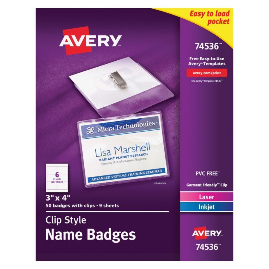 Avery Garment Friendly Clip Style Name Badges Rectangular 3 X 4