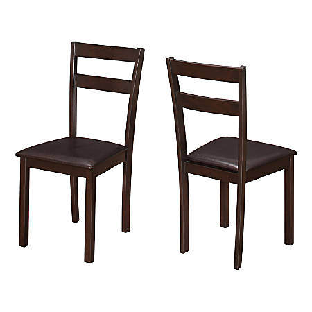 Monarch Specialties Allison Dining Chairs, Dark Brown/Cappuccino, Set Of 2 Chairs
