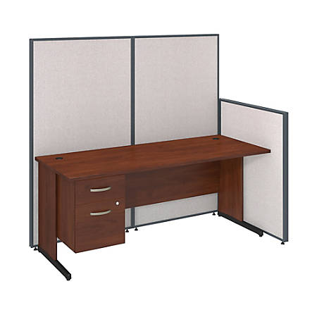 "Bush Business Furniture ProPanels C-Leg Desk With 3/4-Pedestal, 67 1/16""H x 37 15/16""W x 74""D, Light Gray, Standard Delivery"