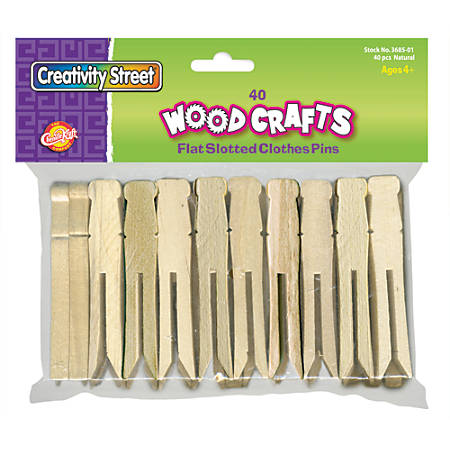 Chenille Kraft Clothespins, Slotted, Box Of 40