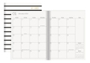 "Office Depot® Brand Striped Monthly Planner, 6-3/8"" x 8-1/2"", Black/White, January To December 2020, DX190023-004"