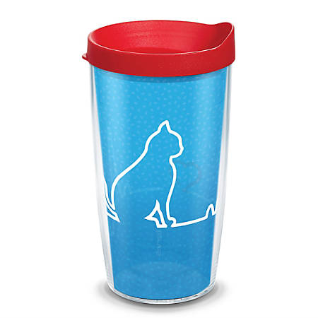 Tervis Project Paws Tumbler With Lid, Cat Heartbeat, 16 Oz, Clear/Red