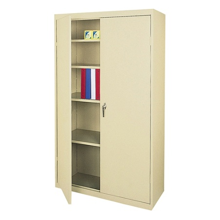 Reale Steel Storage Cabinet 4 Adjule Shelves 72 H X 36 W 18 D Putty By Office Depot Officemax