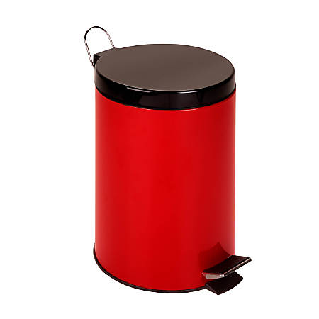 Honey-Can-Do Steel Step Trash Can, 3.2 Gallons, Ruby