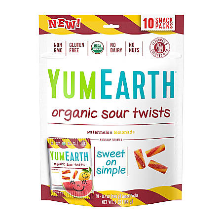 Yummy Earth Watermelon Lemonade Organic Sour Twists, 7 Oz, Pack Of 3 Bags