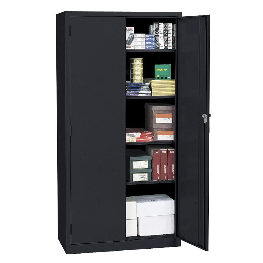 realspace 72 steel storage cabinet with 4 adjustable shelves 72 h x rh officedepot com