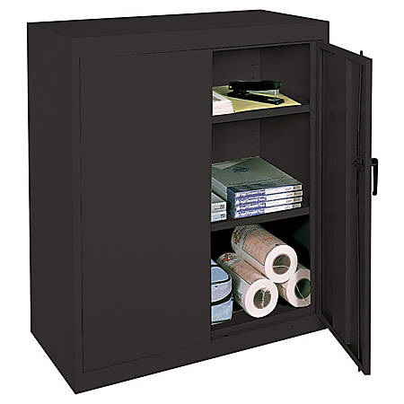 """Realspace® 42"""" Steel Storage Cabinet With 2 Adjustable Shelves, 42""""H x 36""""W x 18""""D, Black"""