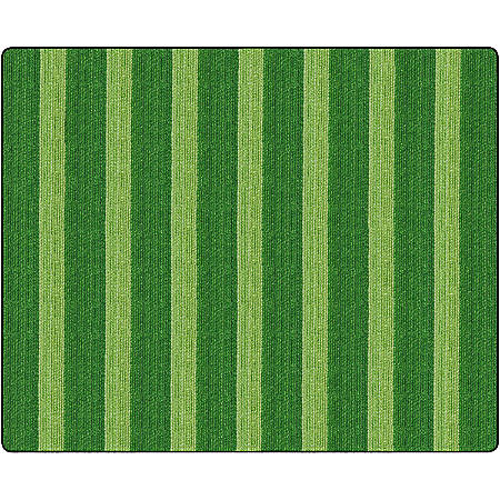 Flagship Carpets Basketweave Stripes Classroom Rug, 10 1/2' x 13 3/16', Green
