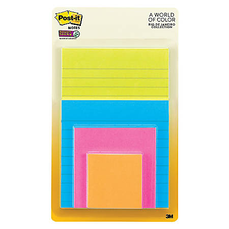 """Post-it® Super Sticky Notes, 2"""" x 2"""", Rio de Janeiro, Pack Of 4 Pads"""
