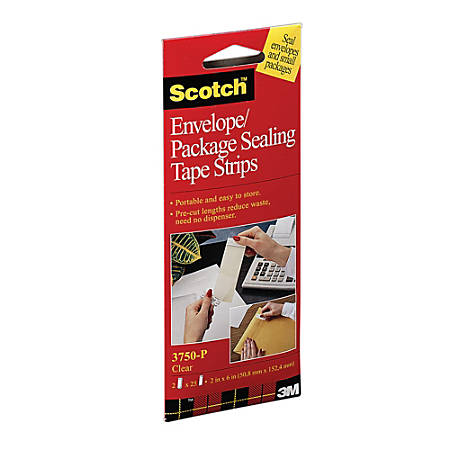 "Scotch® Envelope/Package Sealing Tape Strips, 1 7/8"" x 6 Yd., Pack Of 50"