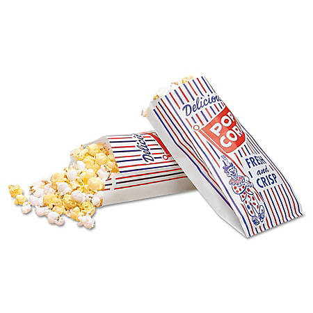 "Bagcraft Pinch-Bottom Paper Popcorn Bags, 8""H x 4""W x 1 1/2""D, Blue/Red/White, Pack Of 1,000 Bags"