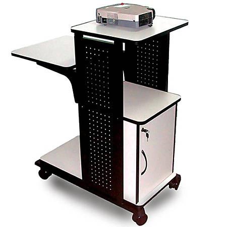 "H. Wilson 4-Shelf Presentation Station, Locking Cabinet, 38 1/2""H x 34 1/2""W x 18""D, Black/Gray"
