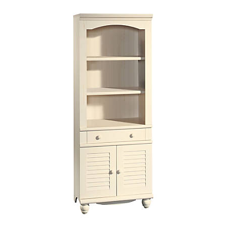 best website 16013 1ef5e Sauder® Harbor View Bookcase With Doors And Drawer, 5-Shelf, Antiqued White  Item # 946530