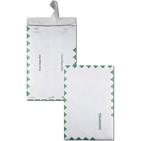 "Quality Park® Tyvek® Envelopes, First Class, 14 Lb., 10"" x 15"", Green/White, Box Of 100"