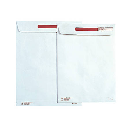 "Survivor® Tyvek® Tamper-Indicator Envelopes, 9"" x 12"", White, Box Of 100"