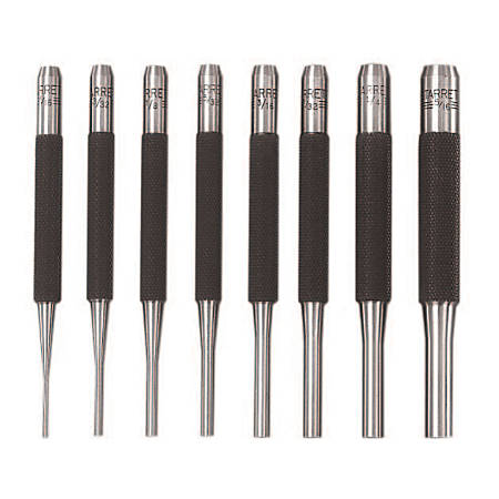 Drive Pin Punches, 4 in, 1/16 in tip, Steel
