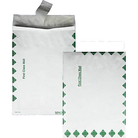 """Quality Park® Dupont™ Tyvek® Grip-Seal® Expansion Envelopes, Open End, First Class, 10"""" x 13"""" x 1 1/2"""", White, Box Of 100"""