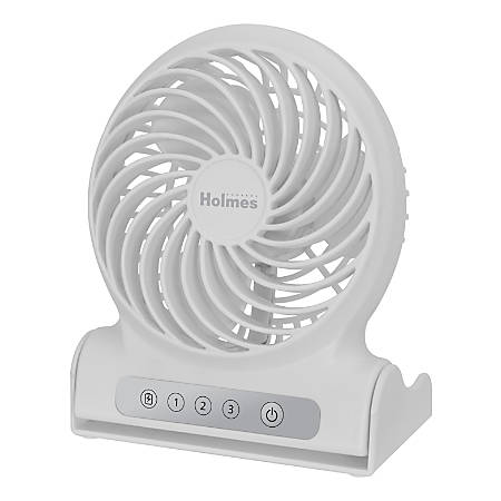 "Holmes® Personal Rechargeable Fan, 6-1/2""H, White"