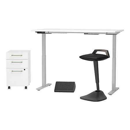 """Bush Business Furniture Move 60 Series 60""""W x 30""""D Adjustable Standing Desk with Lean Stool Storage and Ergonomic Accessories, White, Standard Delivery"""