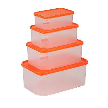 Honey-Can-Do 8-Piece Easy-View Food Container Set, 0.8 - 5.1 Qt, Clear