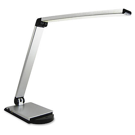 Lorell® LED USB Smart Device Station Task Light, Dimmable, Silver