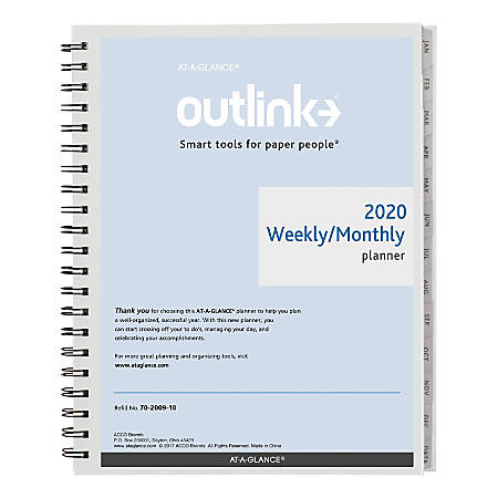 """AT-A-GLANCE® Outlink Weekly Planner Refill, 8-1/2"""" x 11"""", 30% Recycled, January To December 2020, AAG702009"""