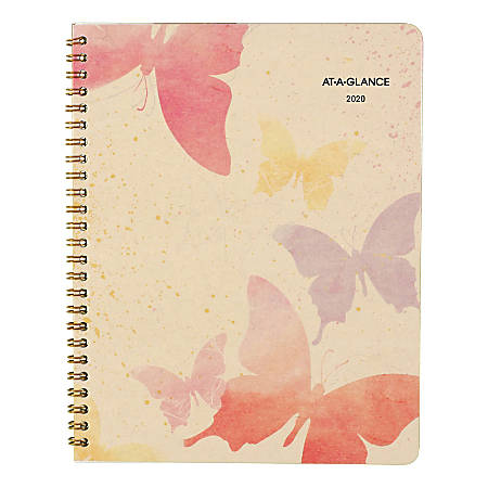 """AT-A-GLANCE® Watercolors 13-Month Monthly Planner, 8-3/4"""" x 6-7/8"""", 30% Recycled, January 2020 To January 2021, AAG791800G"""