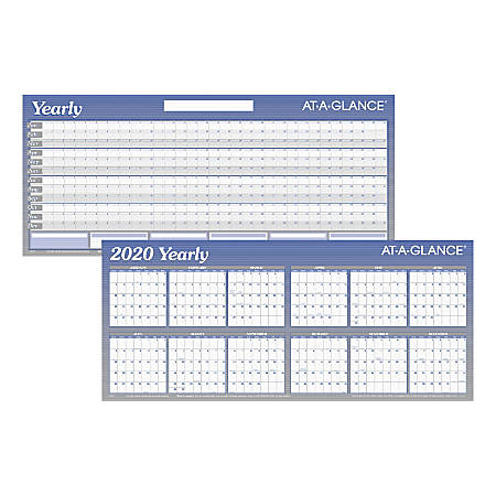 "AT-A-GLANCE® Large Erasable/Reversible Yearly Planner, 26"" x 60"", Blue/White, January To December 2020, AAGA177"