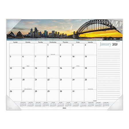 "AT-A-GLANCE® Harbor Views Monthly Desk Pad Calendar, 22"" x 17"", 30% Recycled, Multicolor, January To December 2020, AAGDMD145"
