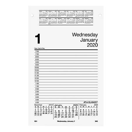 """AT-A-GLANCE® Daily Pad-Style Desk Calendar Refill, 8"""" x 5"""", Black/White, Jan To Dec 2020, AAGE45850"""