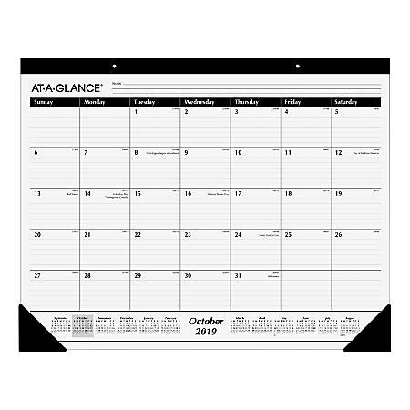 """AT-A-GLANCE® 16-Month Monthly Desk Pad Calendar, 22"""" x 17"""", 30% Recycled, White/Black, September 2019 To December 2020, AAGSK2416"""